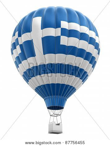 Hot Air Balloon with Greek Flag (clipping path included)