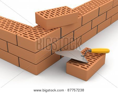 Bricks and Trowel (clipping path included)