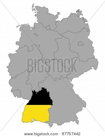 Map Of Germany With Flag Of Baden-wuerttemberg