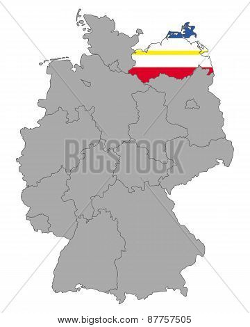 Map Of Germany With Flag Of Mecklenburg-vorpommern