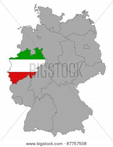 Map Of Germany With Flag Of North Rhine-westphalia