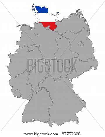 Map Of Germany With Flag Of Schleswig-holstein