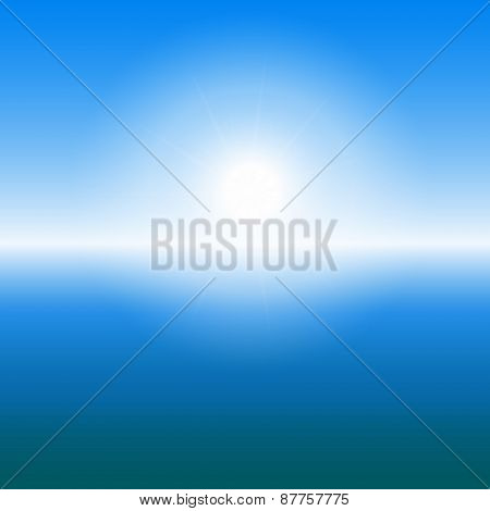 Abstract Sunrise Over The Sea With Copy Space