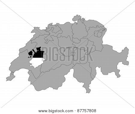 Map Of Switzerland With Flag Of Fribourg