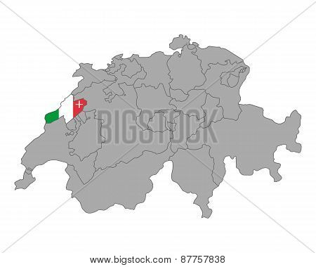Map Of Switzerland With Flag Of Neuchatel