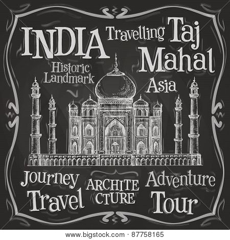 India vector logo design template. Taj Mahal or menu board icon.
