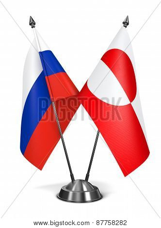 Russia and Greenland - Miniature Flags.
