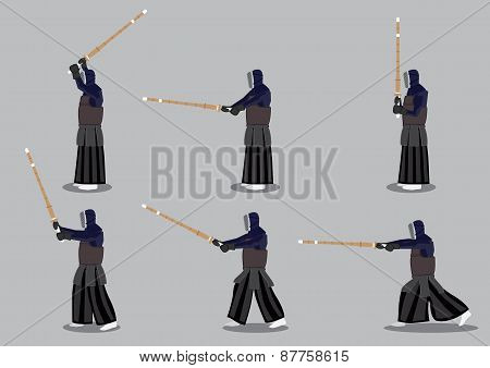 Japanese Kendo Martial Arts Vector Icon Set