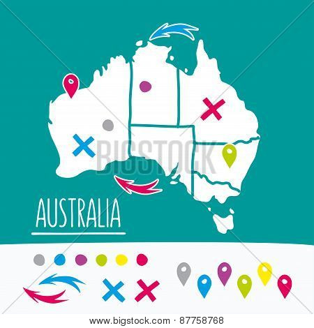 Vintage Hand drawn Australia travel map with pins vector illustration