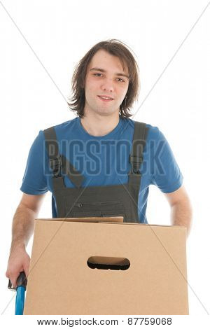 Worker with hand truck boxes isolated over white background