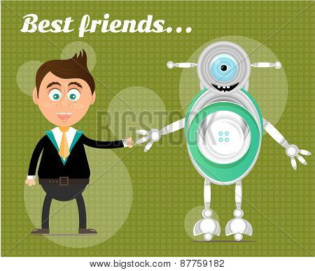 Smiling, happy, young, standing, businessman with modern robot, text Best Friends, green background