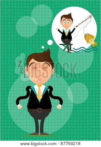 Sleeping, young, standing, businessman has dream about fishing. He caught golden fish. Green backgro