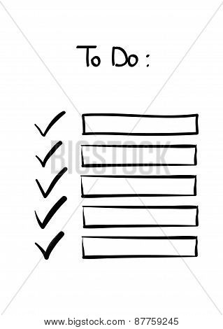 Hand-drawn doodle to do checklist