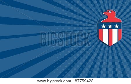 Business Card American Bald Eagle Head Flag Shield Retro