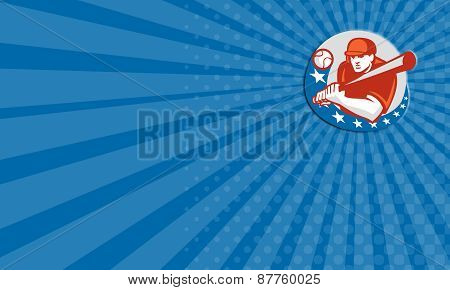 Business Card Baseball Player Batter Stars Circle Retro