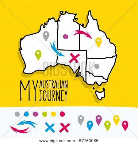 Hand drawn My Australian Journey map project with pins vector illustration