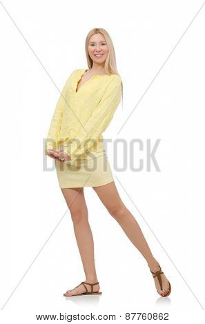 Pretty young woman in summer yellow clothing isolated on white