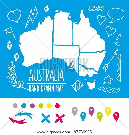 Doodle Australia travel map with pins and extras vector illustration
