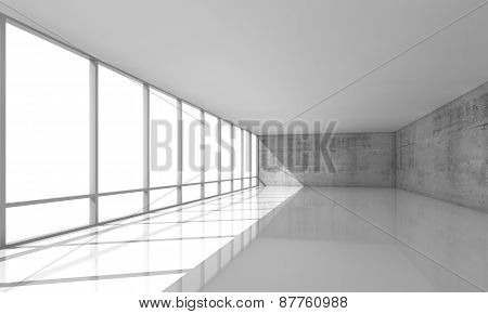 White Open Space Interior With Windows And Gray Walls, 3D