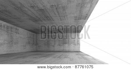 Concrete Interior With White Window Opening, 3D