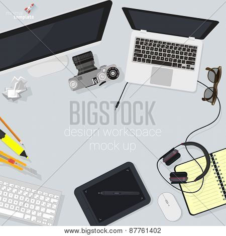 Flat design creative studio designer's workspace. Minimalist vector.