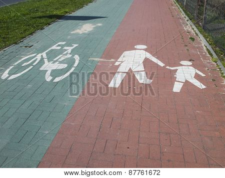 Bike And Walking Path Marks
