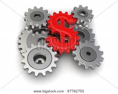 Cogwheel dollar (clipping path included)