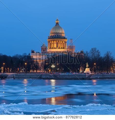Saint Isaac's Cathedral In The Ivening, St. Petersburg