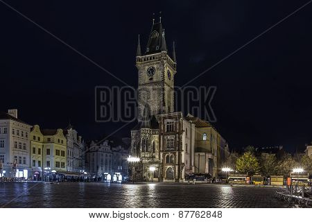 Old Town Square with the Old Town Hall at night, Prague