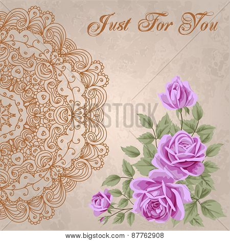 Vintage Flower Card With Roses