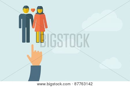 A hand pointing to a lover or couple . A contemporary style with pastel palette, light blue cloudy sky background. Vector flat design illustration. Horizontal layout with text space on right part.