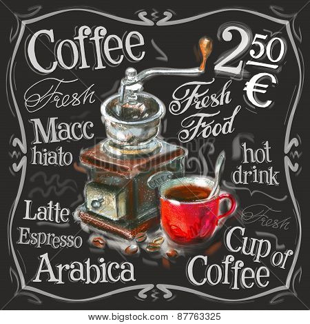 coffee, espresso vector logo design template. fresh drink or menu board icon.