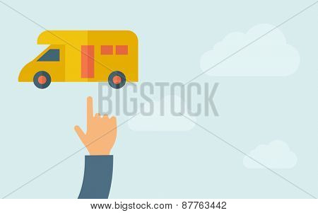 A hand pointing to van icon. A contemporary style with pastel palette, light blue cloudy sky background. Vector flat design illustration. Horizontal layout with text space on right part.