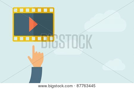 A hand pointing to film icon. A contemporary style with pastel palette, light blue cloudy sky background. Vector flat design illustration. Horizontal layout with text space on right part.
