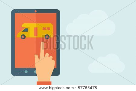 A hand is touching the screen of a tablet with van icon. A contemporary style with pastel palette, light blue cloudy sky background. Vector flat design illustration. Horizontal layout with text space