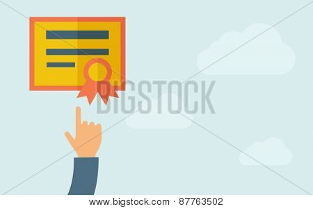 A hand pointing to certificate icon. A contemporary style with pastel palette, light blue cloudy sky background. Vector flat design illustration. Horizontal layout with text space on right part.