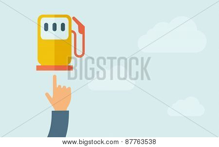A hand pointing to gasoline pump. A contemporary style with pastel palette, light blue cloudy sky background. Vector flat design illustration. Horizontal layout with text space on right part.