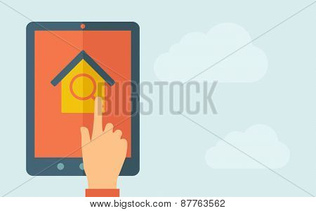A hand is touching the screen of a tablet with house and window icon. A contemporary style with pastel palette, light blue cloudy sky background. Vector flat design illustration. Horizontal layout