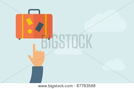 A hand pointing to luggage. A contemporary style with pastel palette, light blue cloudy sky background. Vector flat design illustration. Horizontal layout with text space on right part.
