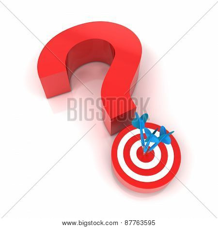 Question mark and target