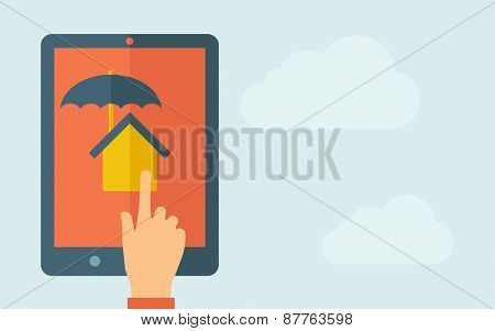 A hand is touching the screen of a tablet with house umbrella icon. A contemporary style with pastel palette, light blue cloudy sky background. Vector flat design illustration. Horizontal layout with
