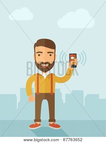 A man standing while holding smartphone with bubble, call and sends message via sms chat with internet wifi. Communication concept. A contemporary style with pastel palette, soft blue tinted