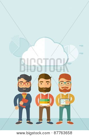 Three young managers working together with different ideas and task build their own business. Teamwork concept.. A contemporary style with pastel palette, soft blue tinted background with desaturated