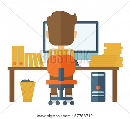 A Caucasian hardworking man facing his computer doing his paper works and seraching an idea from his computer for his report. A contemporary style. Vector flat design illustration with isolated white
