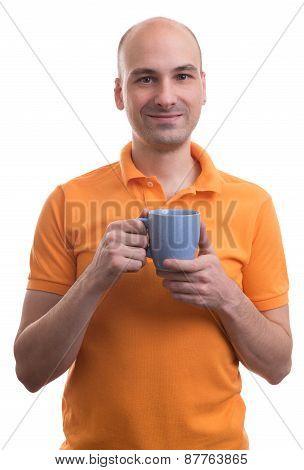 Bald Man Holding A Cup Of Tea
