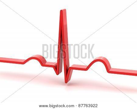 ECG, electrocardiogram, 3d render