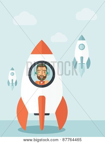 A man with beard is happy inside the rocket it is a metaphor for starting a business, new beginning. On-line start up business concept.  A Contemporary style with pastel palette, soft blue tinted