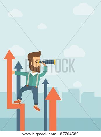 A businessman with beard stand on top of graph arrow using his telescope looking how high he is. Business success, self development concept. A Contemporary style with pastel palette, soft blue tinted