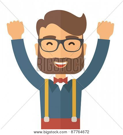 A Caucasian young man is happy raising his two hands. Successful concept. A contemporary style. Vector flat design illustration with isolated white background. Square layout.