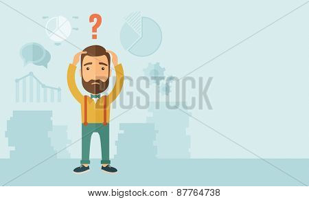 A sad Caucasian businessman with question mark over his head showing that he is in a big trouble. . A contemporary style with pastel palette, soft blue tinted background. Vector flat design